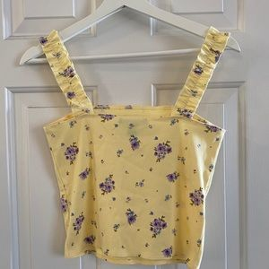 Forever21 yellow floral crop top